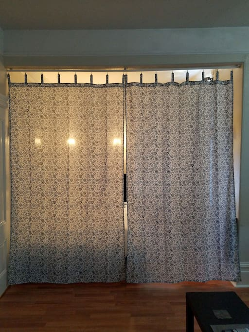Curtain that separate your private sleeping area from your private living room in your Private Suite