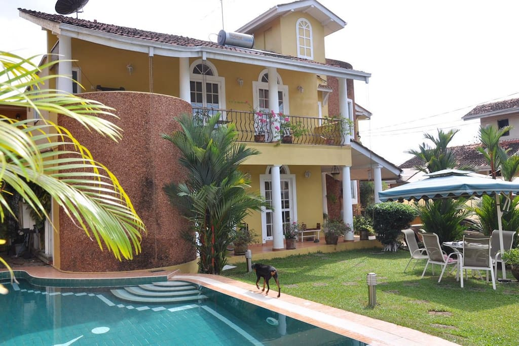Frontal view of villa with private pool & Garden space
