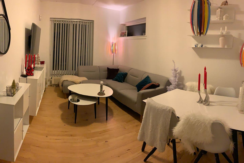 Stue med sofa og spisebord