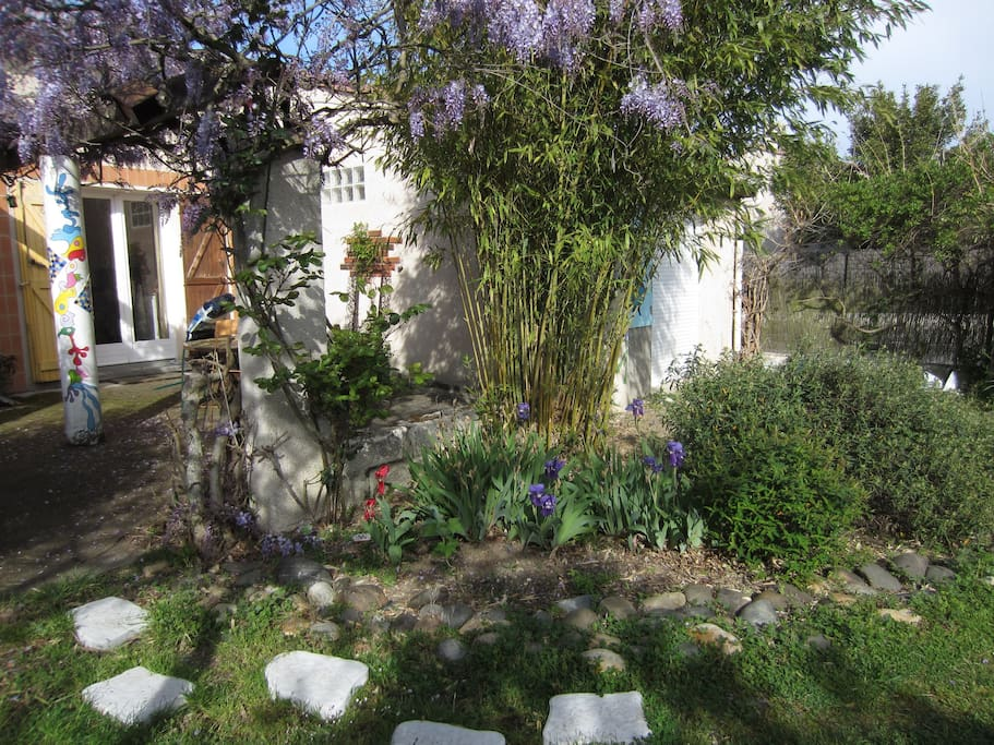 jardin fleuri, ombragé