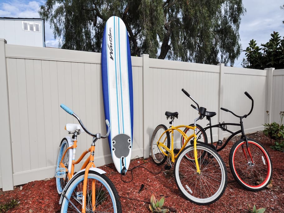 3 beach cruisers and a soft surfboard are waiting for you :)