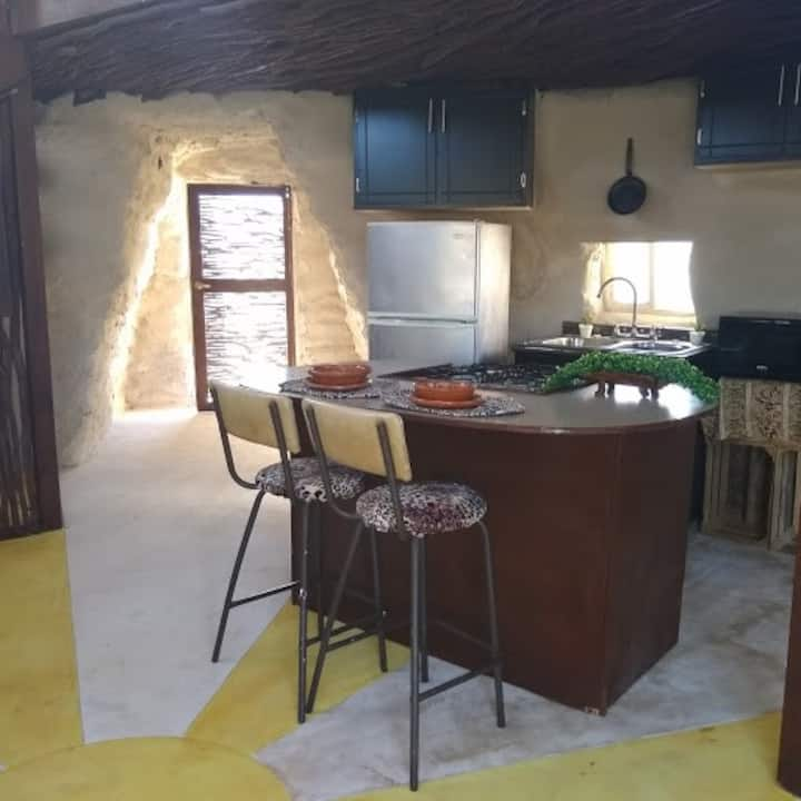 Flintstones themed cabin in Valle de Guadalupe.