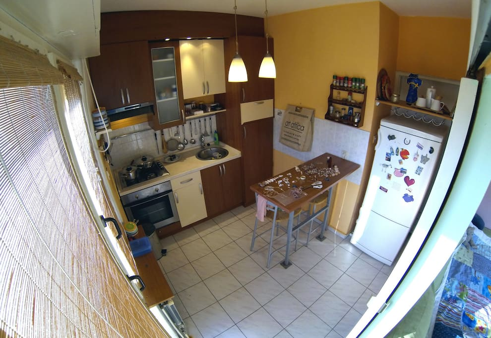 Kitchen with a balcony