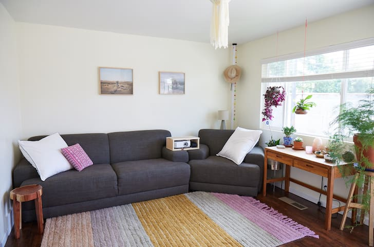 Cozy, playful, and bright one bedroom apartment.