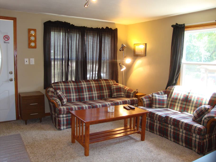 View of the living room from the kitchen.