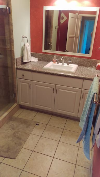 updated bathroom with shower only. towels are provided. Some amenities for 1 month