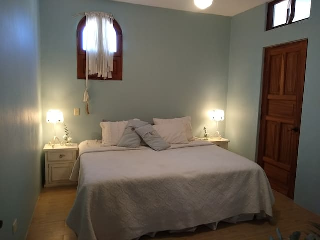 Blue room with king bed and high powered ceiling fans