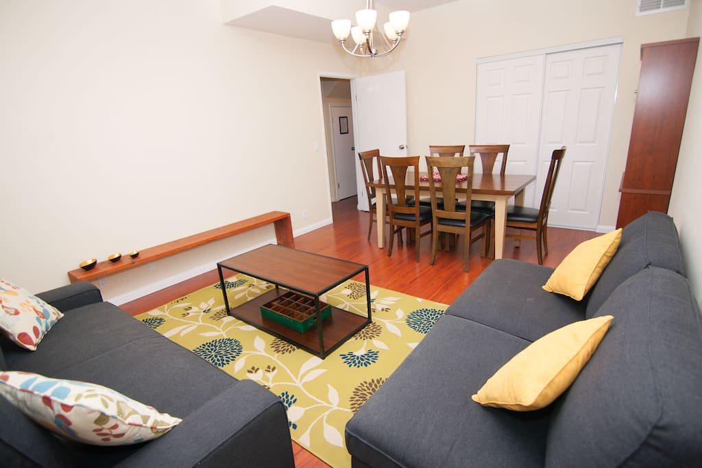 The living-dining room has a large closet for storage, where you will also find a high chair for kids, a box of children toys, as well as linens and conforter for the sofa-bed.