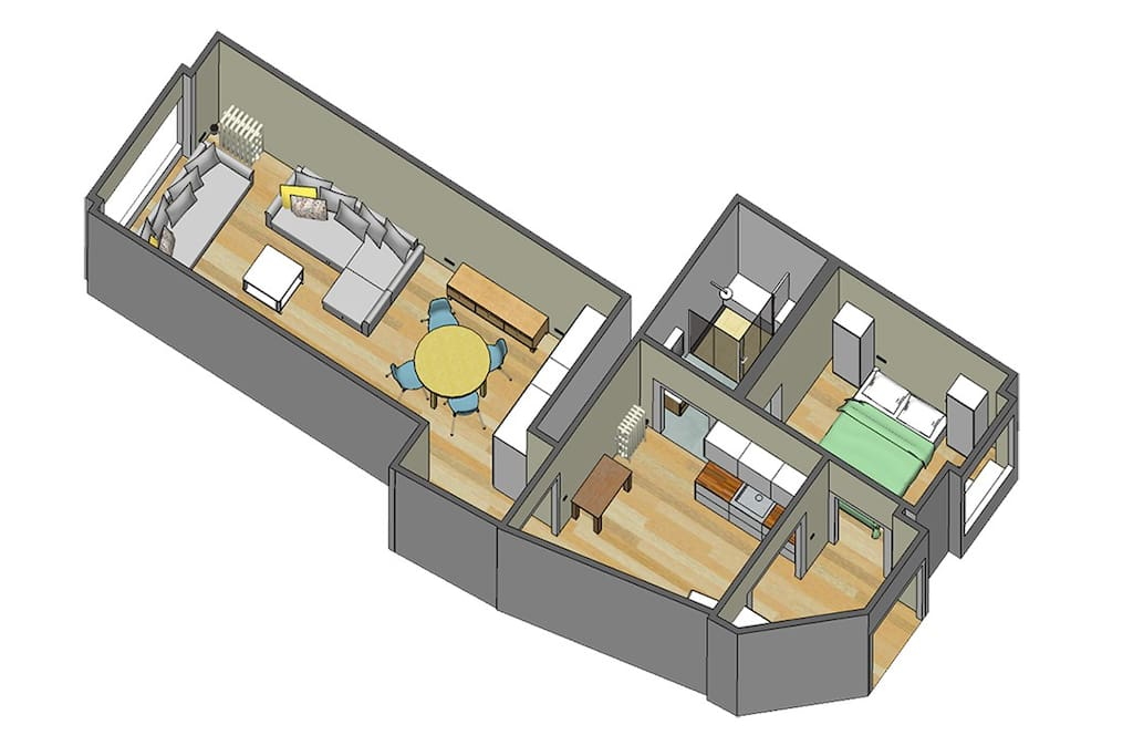 3D floor plan of the apartment