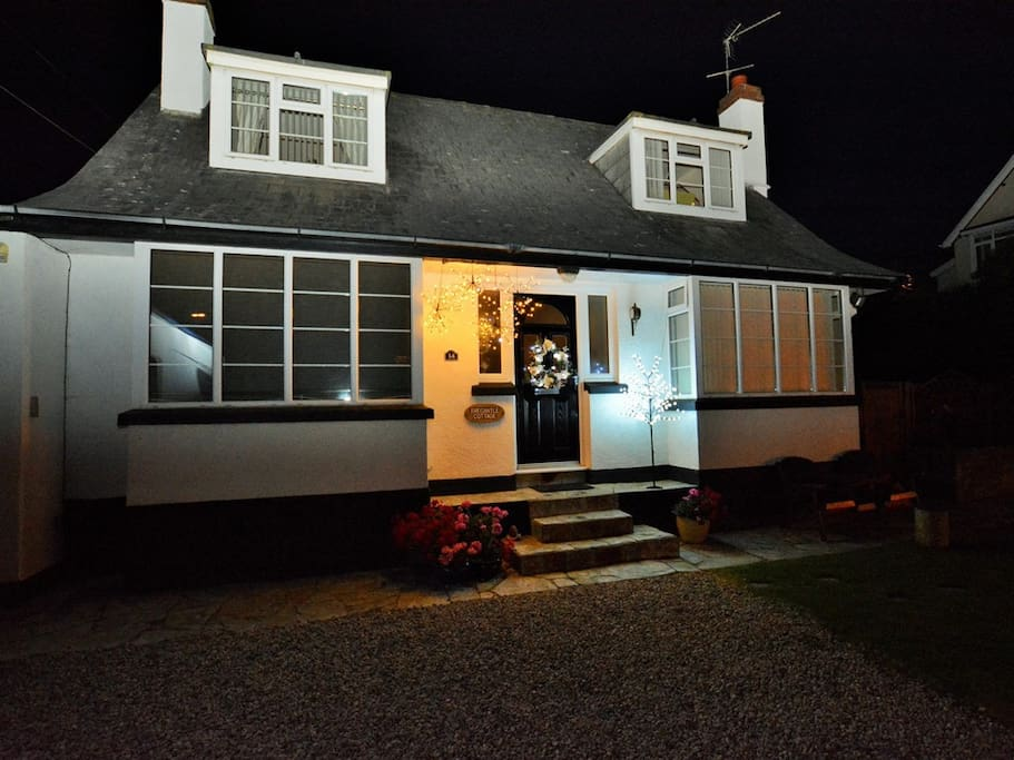 Front of Tregantle Cottage at Christmas Time