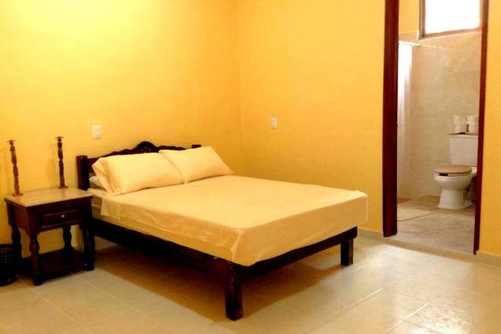 Master Bedroom with attached spacious bathroom, double bed, AC, Fan