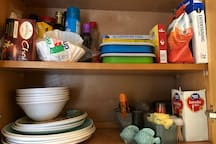 We provide dishes. Guests leave non perishable single use items.