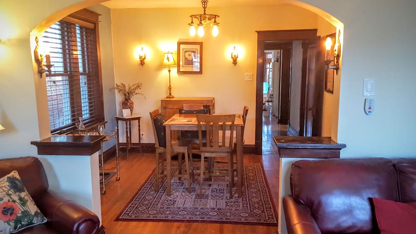 Open floor plan between dining and living room.   (Decor may change, but layout remains the same)