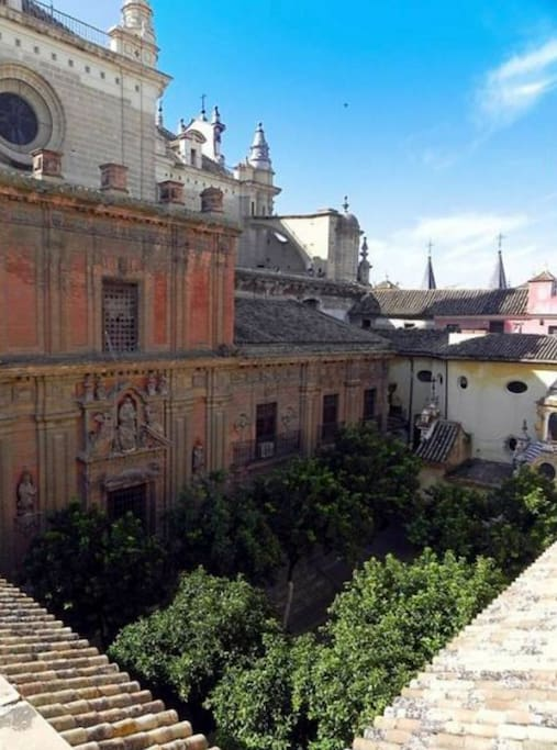 """Views from the terrace of the """"Patio"""" of the Church El Salvador"""