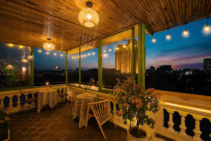Romantic space on rooftop for a couple