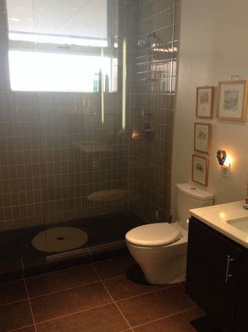 Large walk-in shower in your private bathroom