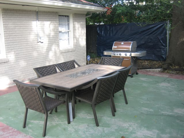 New outdoor grill and furniture