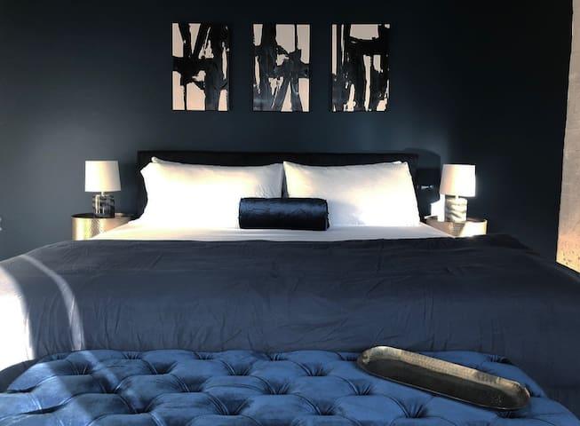 King size Velvet Bed & Memory Foam Mattress