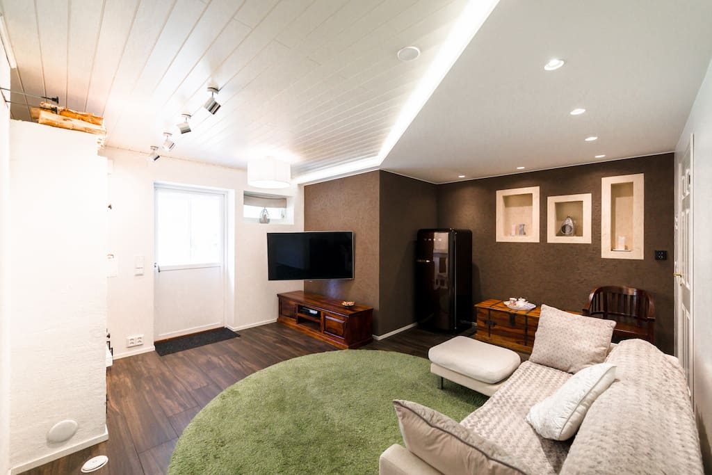 Fire place and TV room for guests