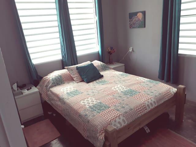 Bedroom 1.  1 queen bed    (Stroller stored under the bed)