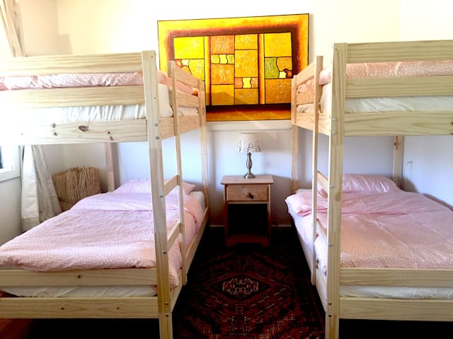 Lower level bed room with twin bunks.