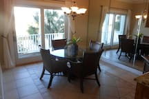 Dining room overlooking boat dock and channel