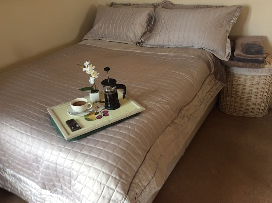 Luxury bedding and filter coffee, good way to start the day.