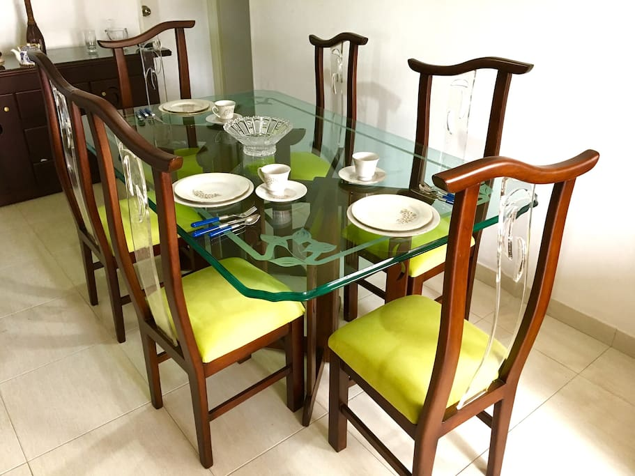 Dining table with six seats.
