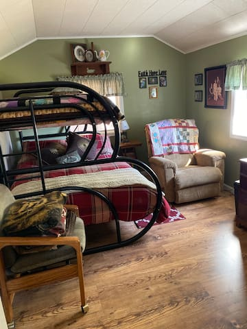One full size bed with twin bunk