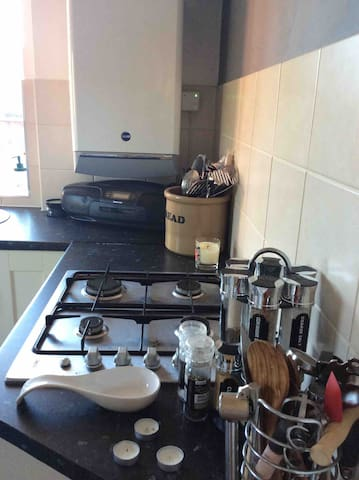 Fully fitted kitchen. Electric oven, gas hob. Washing machine, tumble dryer, microwave, toaster and dishwasher.