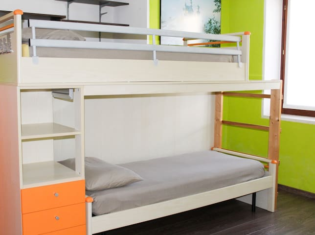 The third bedroom with bunk beds, which is perfect for children!