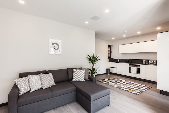 Spacious open living with contemporary furniture and fully equipped state of the art kitchen. Double sofa bed for extra two guest