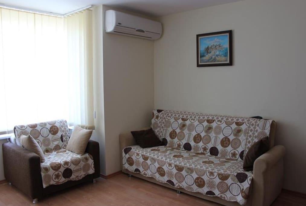 Гостиная с диваном и креслом-кроватью