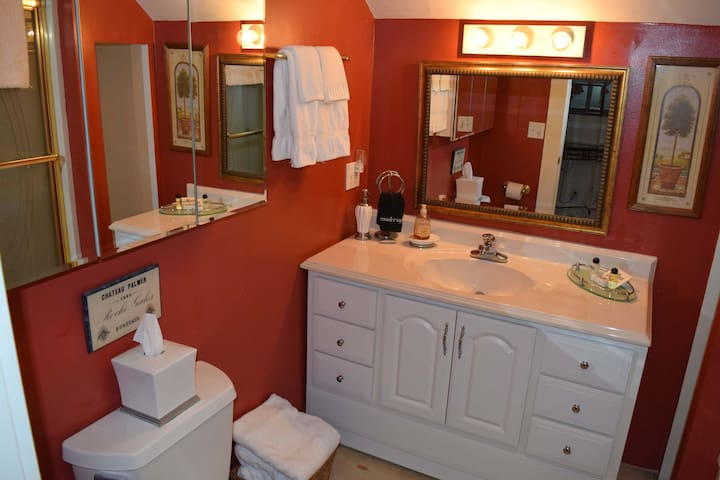 Large bathroom with shower/tub combo