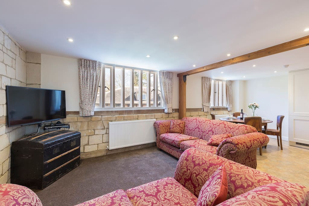 Cosy living room with cable television