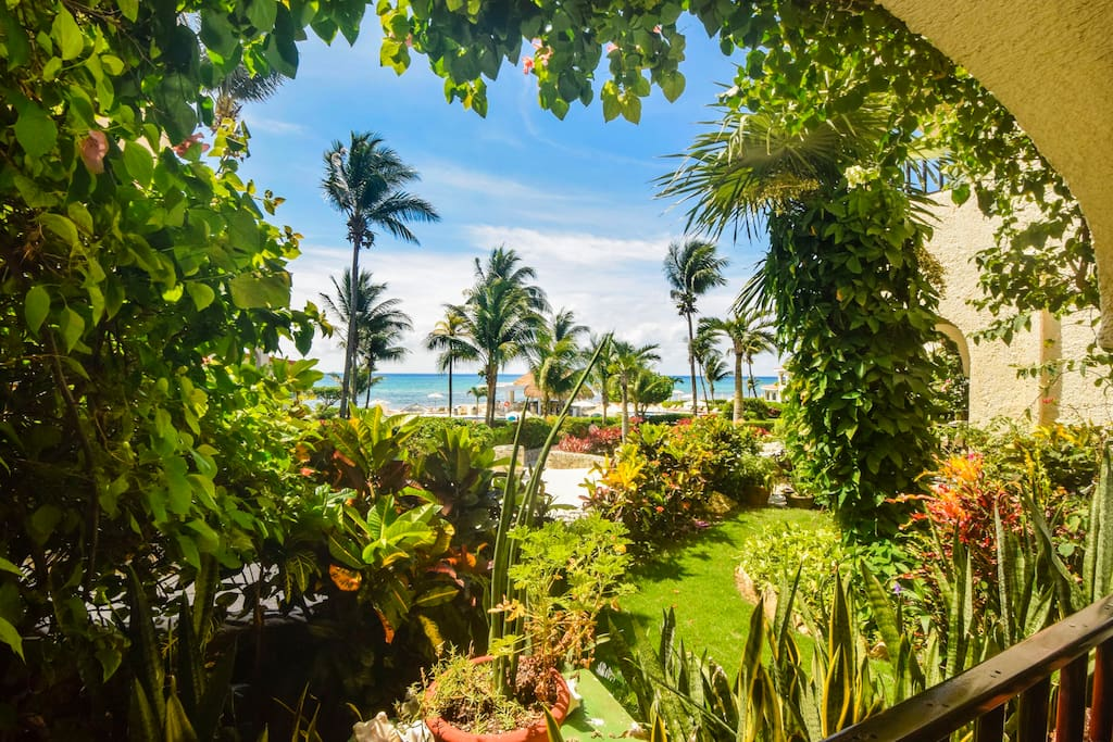 Beautiful garden and Caribbean views