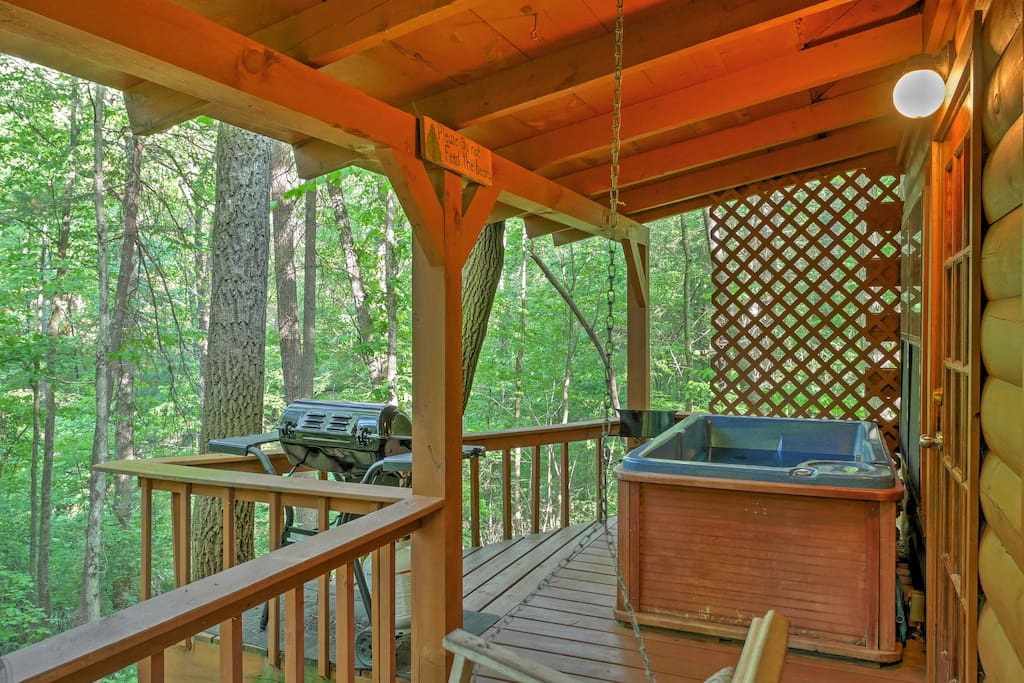 Soak your muscles in the hot tub that rests outside on the private deck.