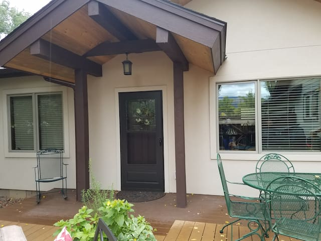 Private entrance off of lovely deck