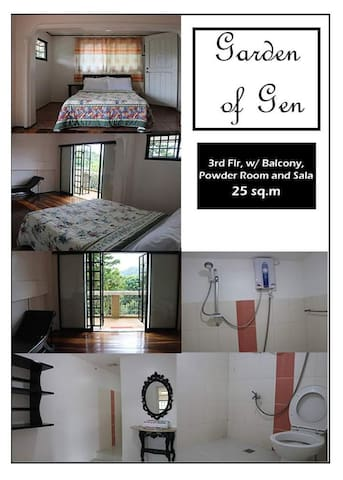 Air-conditioned room with own Balcony, Sala set with powder room.
