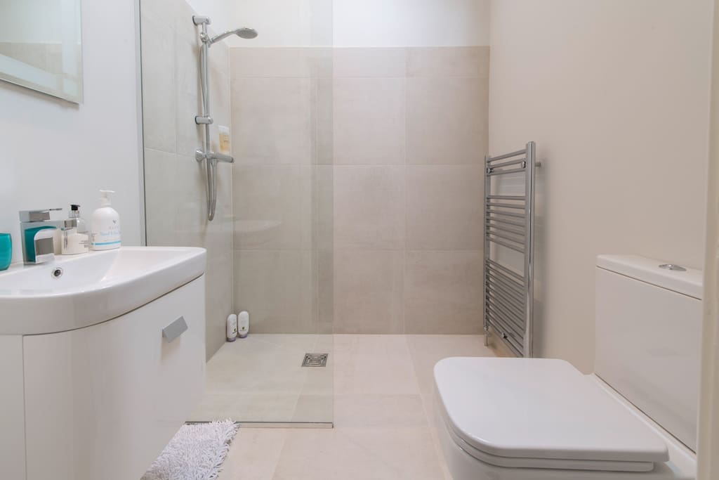 Shower room with walk in wet room style shower with level access, heated mirror, basin, and toilet.