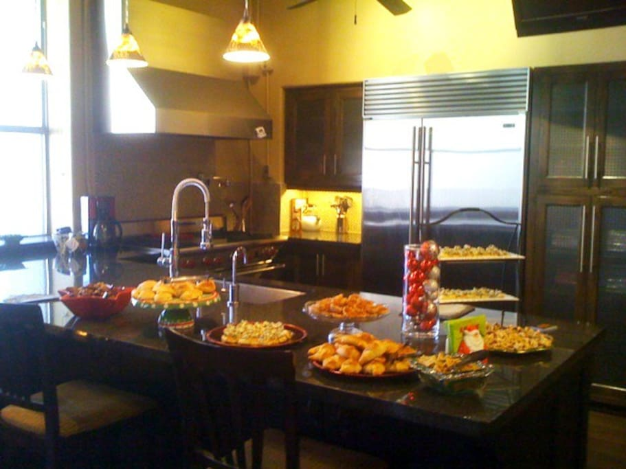 Commercial Kitchen and Bar set up for buffet style appetizers