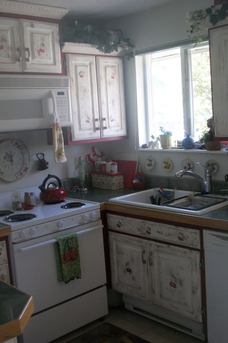 Kitchen area with window above sink