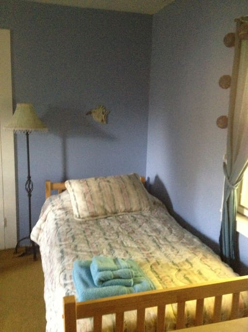 One of the twin beds in your room