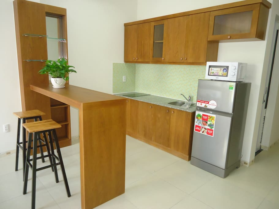 Kitchen area with counter bar