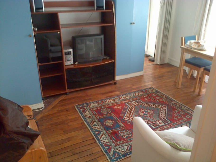 Living room and dining area, wood parquet floors, Internet, wifi, etc., lots of light.