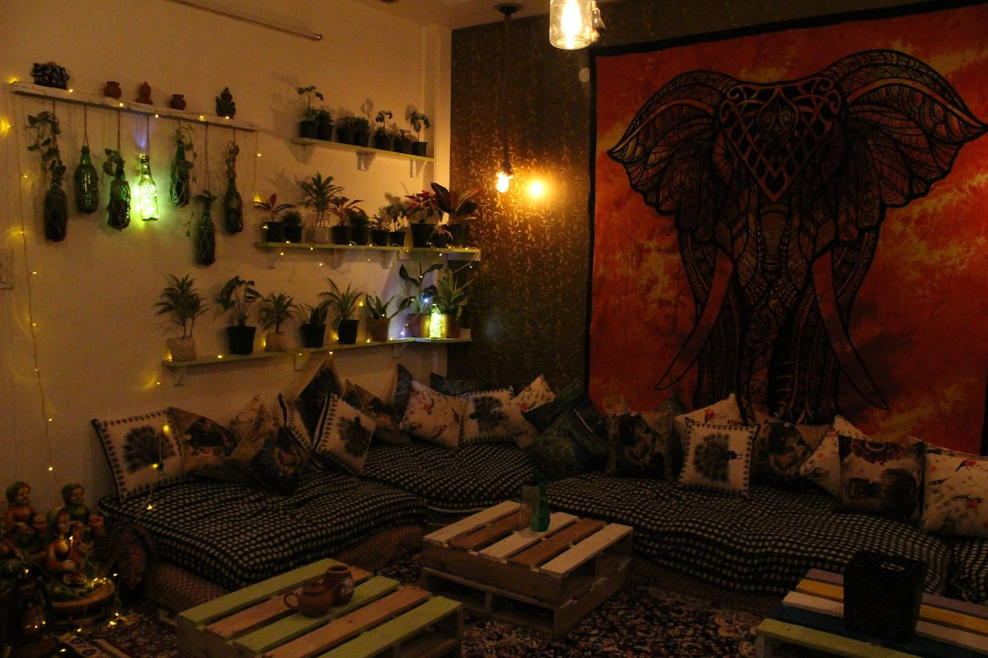 Living area decorated with plants