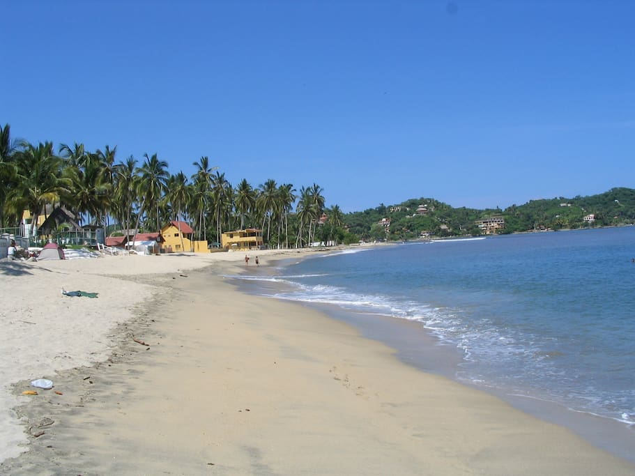 View of Sayuilta Beach north end, three minute walk from Casa Coco!