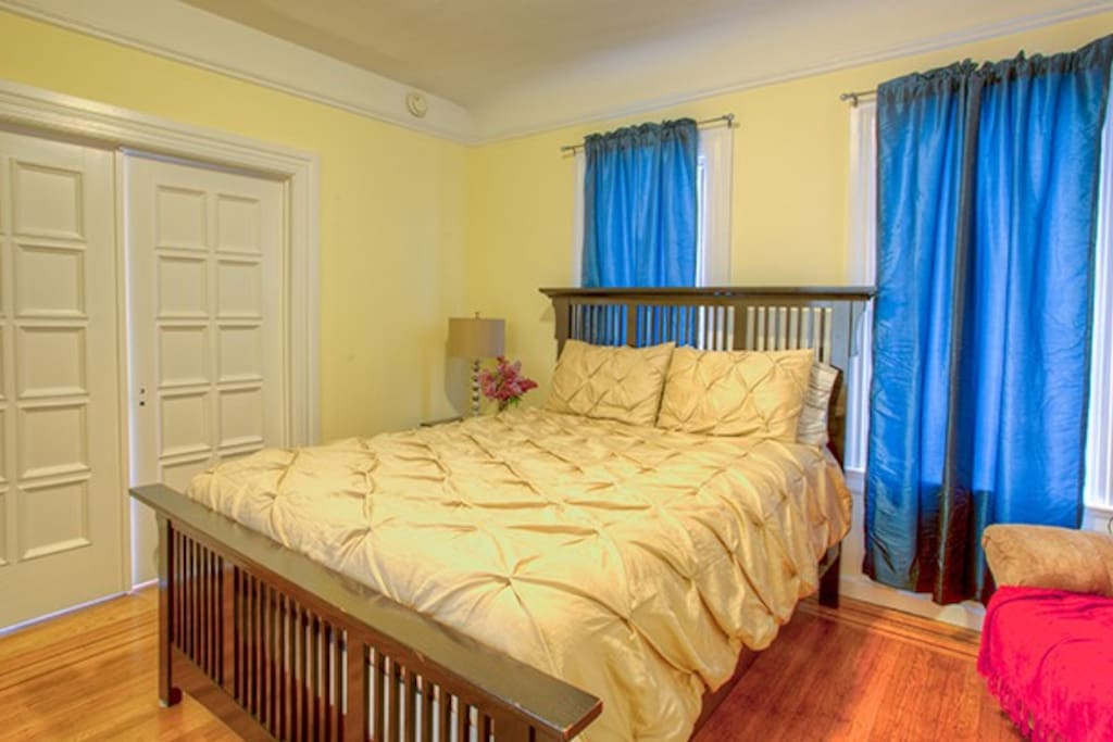 Second double bedroom next to the main with privacy doors.