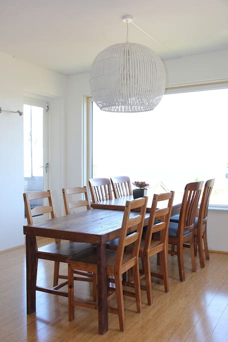 Plenty of dining space and the lower end of the table is ideal for children.
