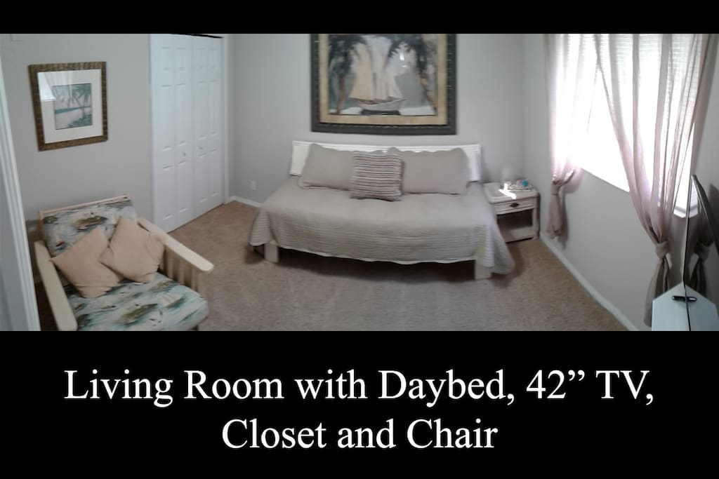 Living Room with Daybed, TV, Full Closet and Lounge Chair (angle 1).